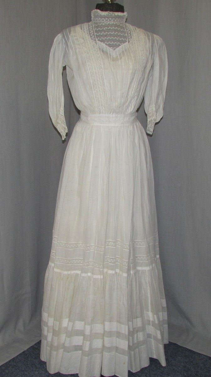 Victorian 1890s Dress Lawn Cotton Lace Romantic Lovely Summer Frock Edwardian Dress Historical Dresses Lace Summer Dresses [ 1200 x 673 Pixel ]