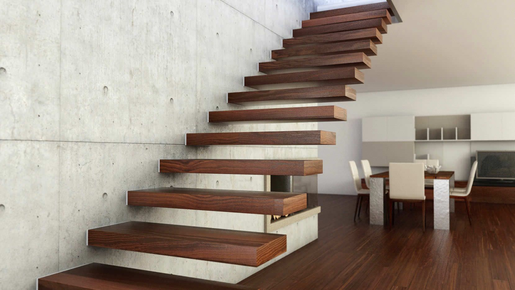 Best Straight Wood Floating Staircase Design Inspiration In 400 x 300