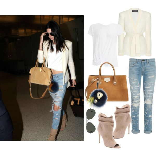 Get the look: Kendall Jenner Streetstyle by karinlinds on Polyvore featuring polyvore, fashion, style, Balmain, Hoss Intropia, rag & bone, Burberry, Jimmy Choo, Fendi and Ray-Ban