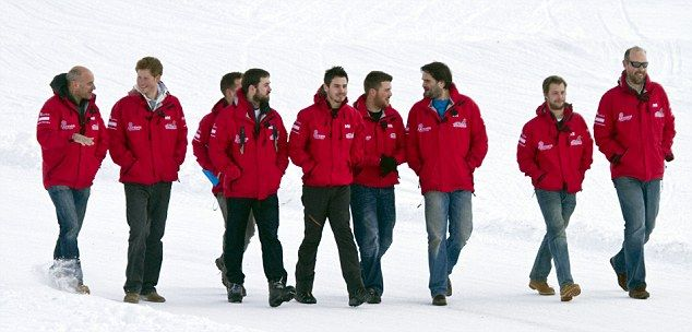Harry (second left) paid tribute to the horribly injured Afghanistan veterans he joined on the ultimate Arctic challenge in -50C temperatures