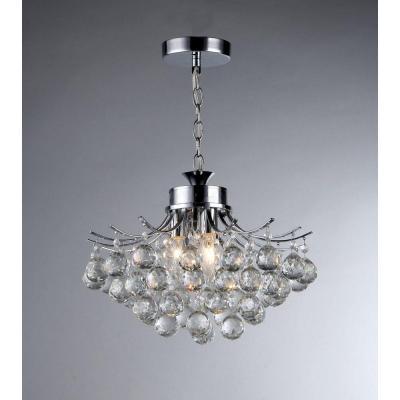 Warehouse Of Tiffany Boadicea 3 Light Crystal Chrome Chandelier