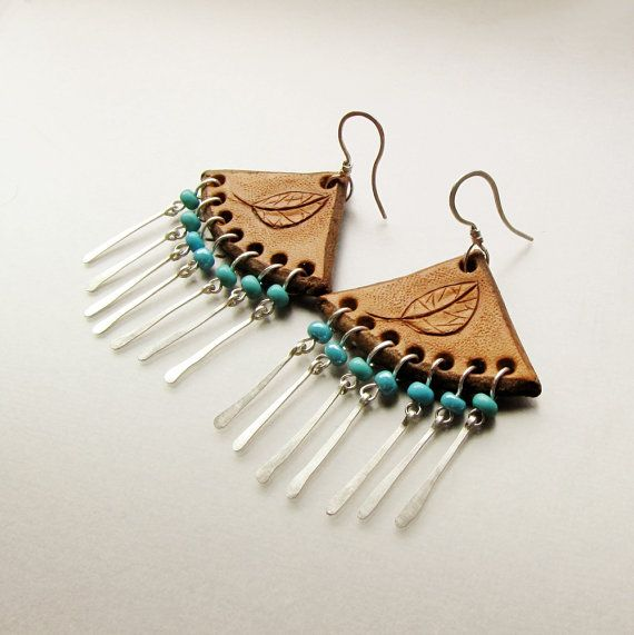 Photo of Items similar to Tooled leather earrings, carved leaf, sterling silver and turquoise beads on Etsy