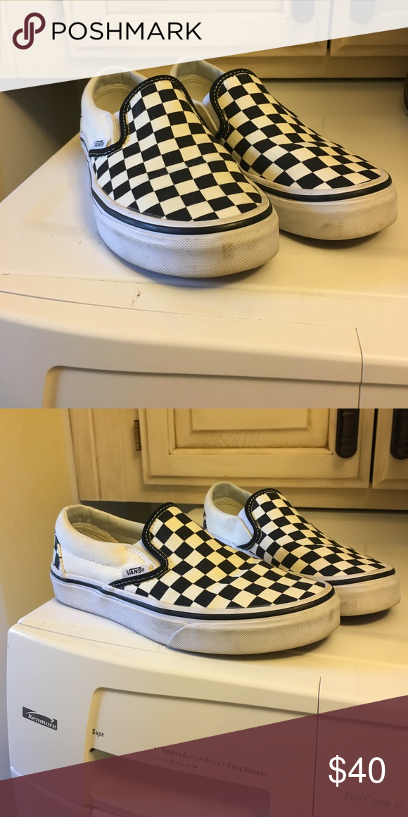 ee637b34dd331f Black   White checkered Vans The classic black   white vans. I got them a  couple months ago but just don t really ever wear them. Vans Shoes Sneakers