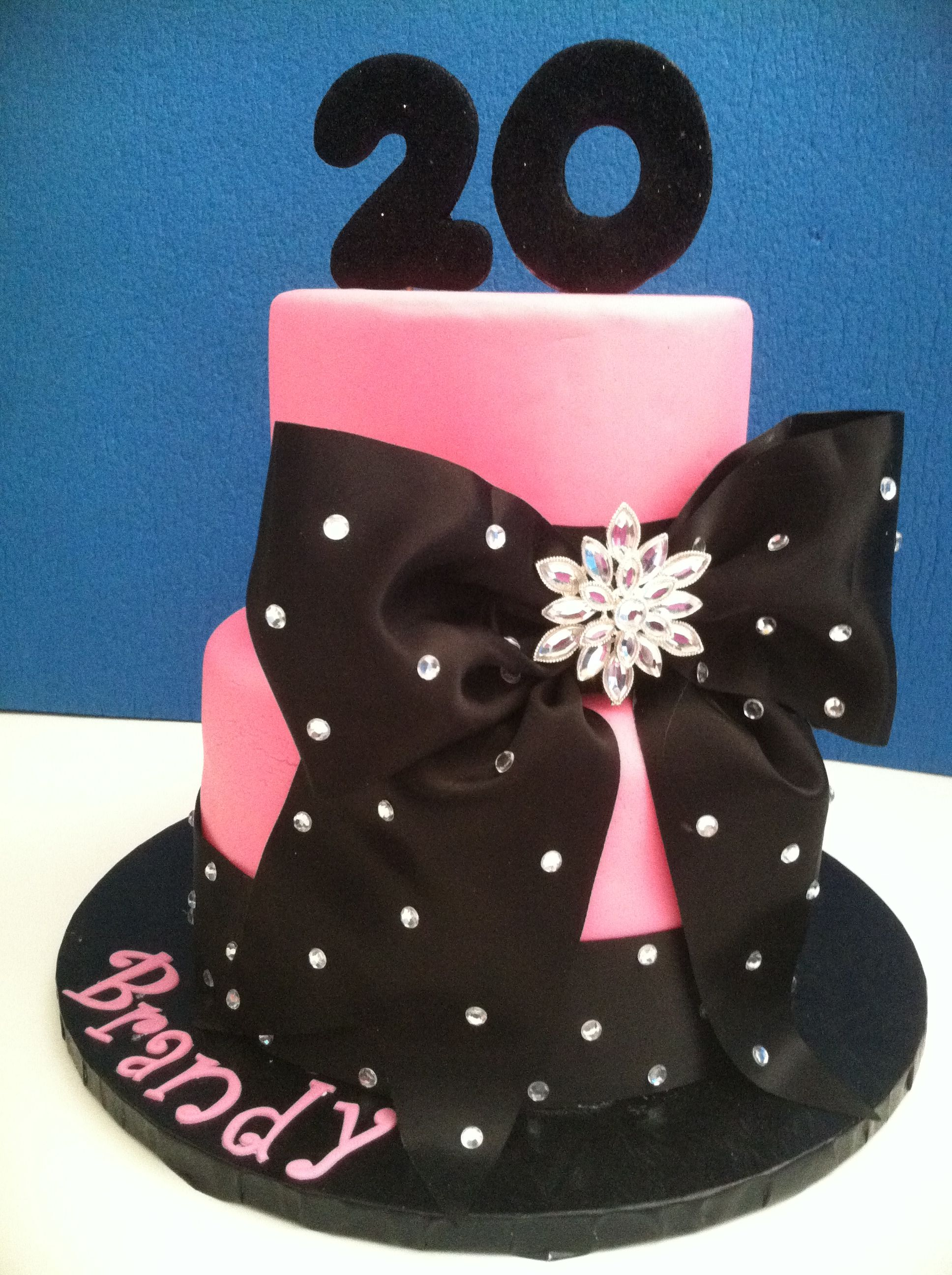 I Made This Pink Fondant Birthday Cake With Ribbon And Rhinestone Accents For A Young Lady Turning 20