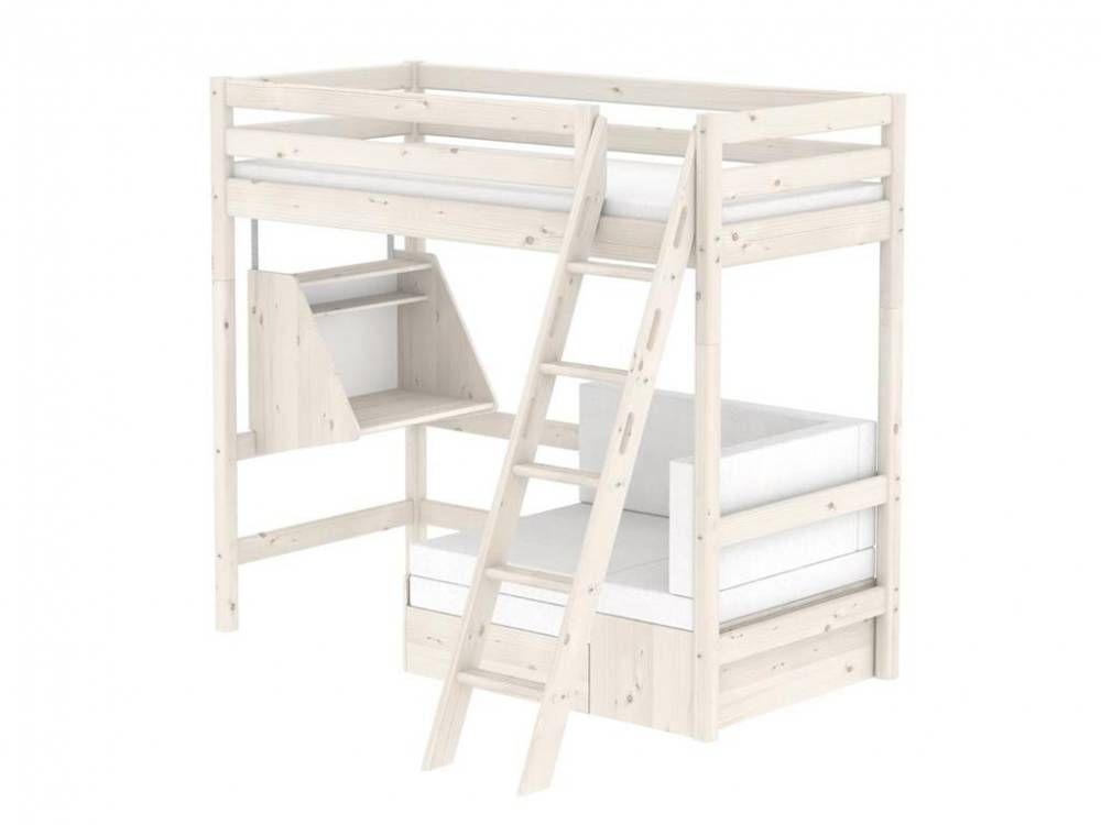 Flexa Hochbett Weiß Casa mit Gästebett, Schreibtisch, Schräg - hochbett mit schreibtisch 2