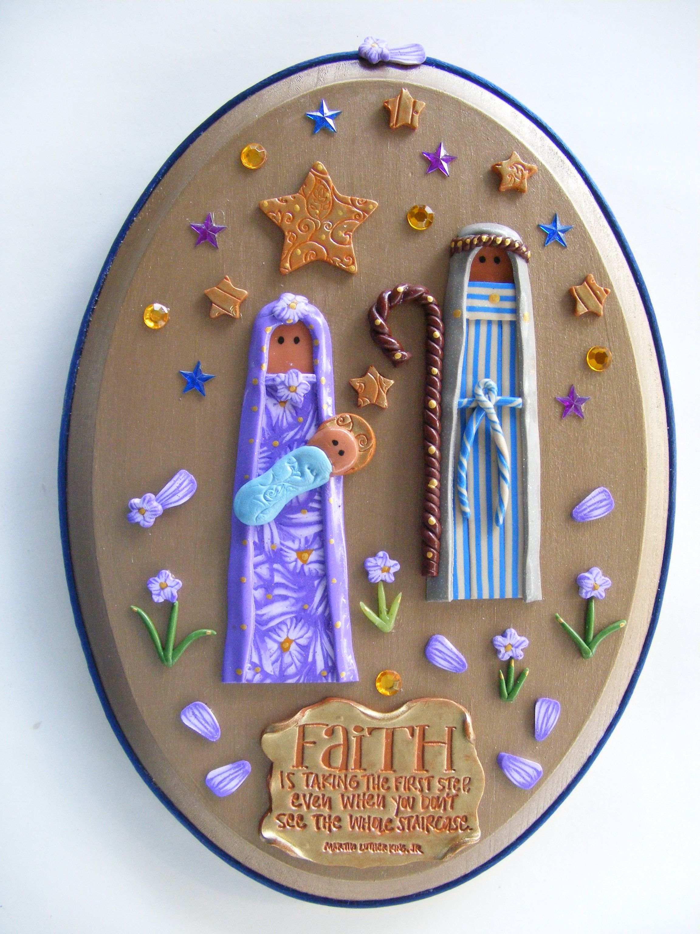 Nativity scene in polymer clay on wood plaque