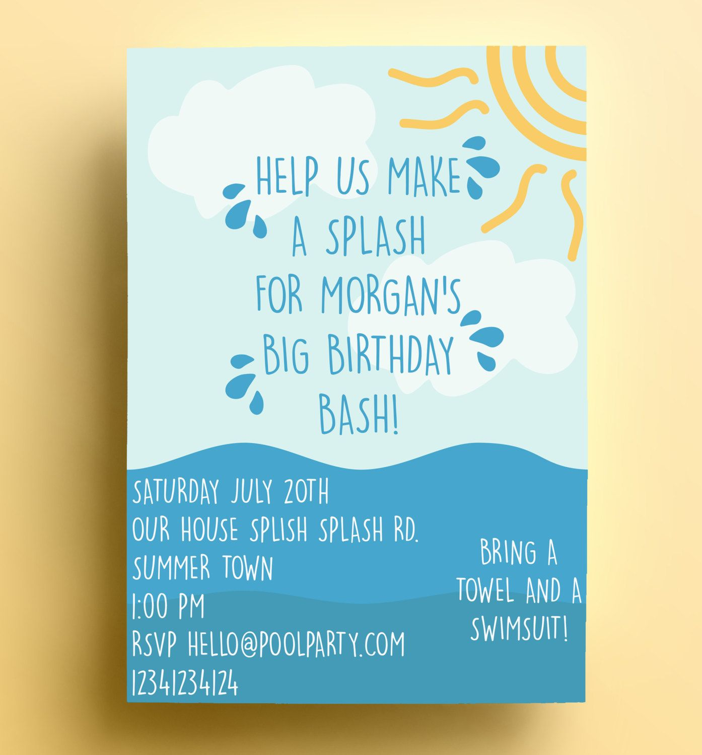 New to FloxCreative on Etsy: Pool party invitation Download PDF ...