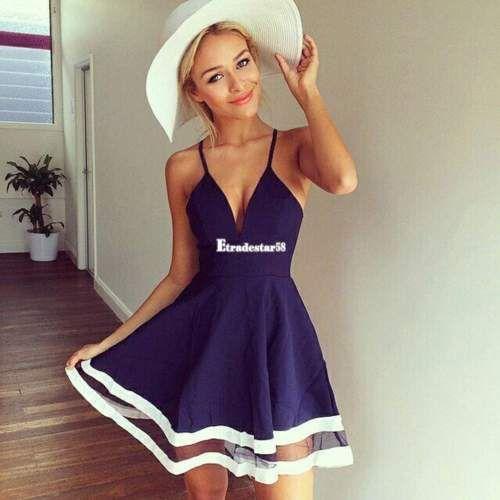 Details zu Damen Sexy Sommer Chiffonärmellos Kleider Parteikleid ...
