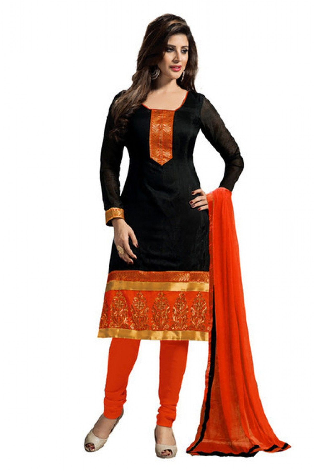 40d8ab39a Chanderi Party Wear Churidar Suit in Black Colour.It comes with matching  Dupatta and Bottom.It is crfated with Embroidery,Lace Work.