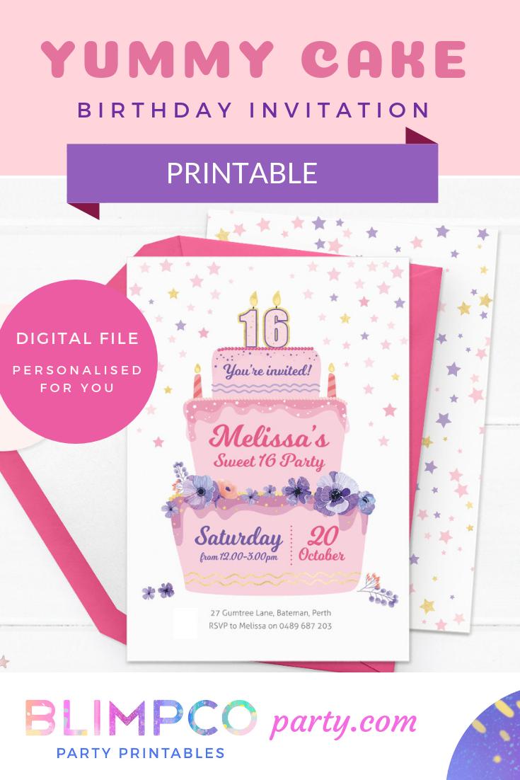 Printable Birthday Invitations Invites Cake