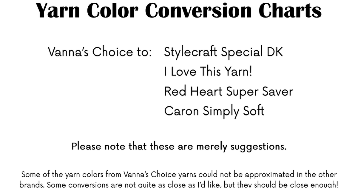 Yarn Color Conversion Chartpdf Yarn Pinterest Yarn Colors