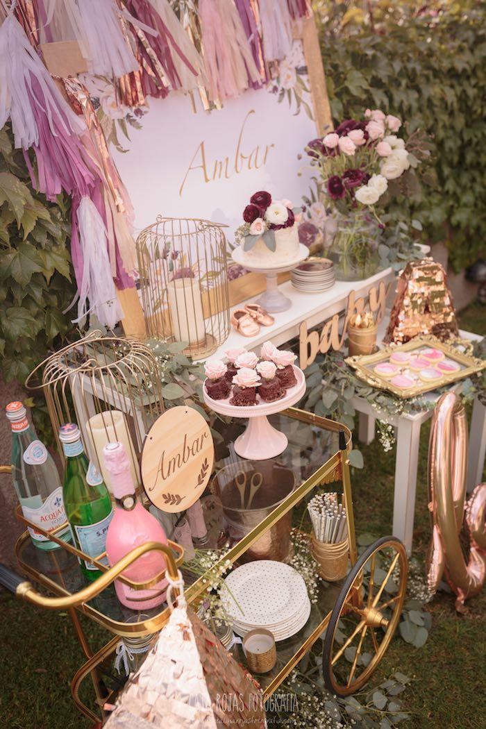 Secret Garden: Burgundy, Blush & Gold Boho Baby Shower (kara's Party