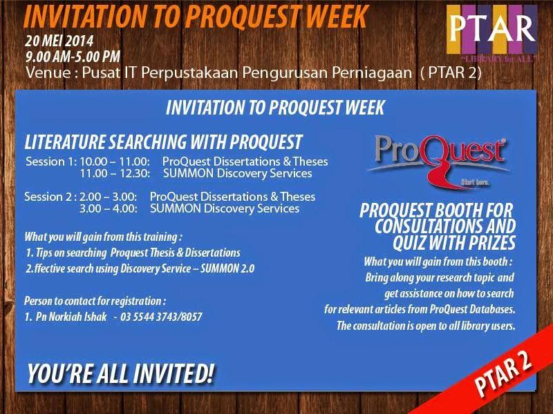 Proquest Week Perpustakaan Pengurusan Perniagaan Tun Abdul Razak Infopintar Mahasiswa 30 Februari Dissertation And These Database