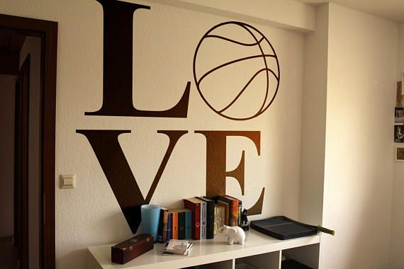 Love Basketball Typography Wall Decals For Home Decor Lettering
