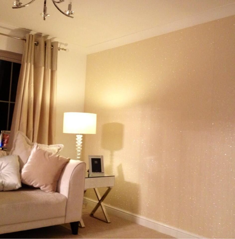 Cream Glitter Wallcovering supplied by www.the… | Luxnelle Interior ...