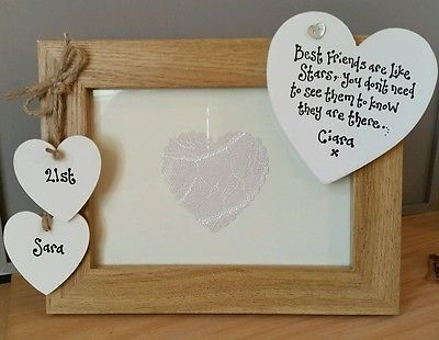 Shabby personalised Chic photo frame FRIEND gift 18 21st 30 40th ...