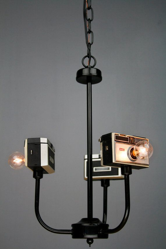 Handmade Vintage Upcycled Camera Lamp Chandelier by RetroBender