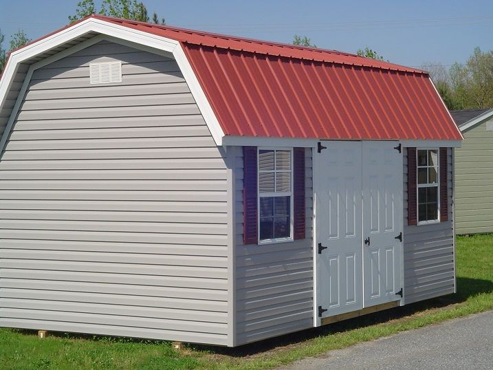 Sheds Direct 10 X 16 Vinyl Barn With Red Metal Roof And Doors On The Side Shed Shed Plans Sheds Direct