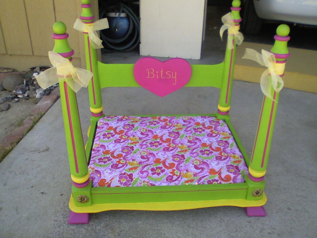 Pet Bed made from an end table Added a backboard and feet My