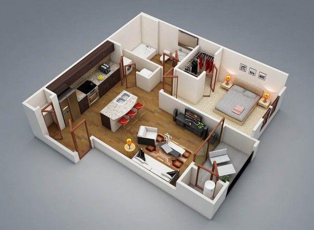 รวมแปลนบ้านชั้นเดียวหนึ่งห้องนอน  P L A N 3 D  Pinterest Enchanting 3 Bedroom House Design Ideas Design Ideas