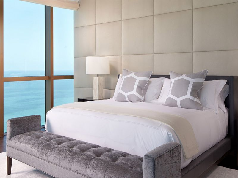 Padded Wall Panels bedroom, interesting bedroom design with wall and ceiling beige