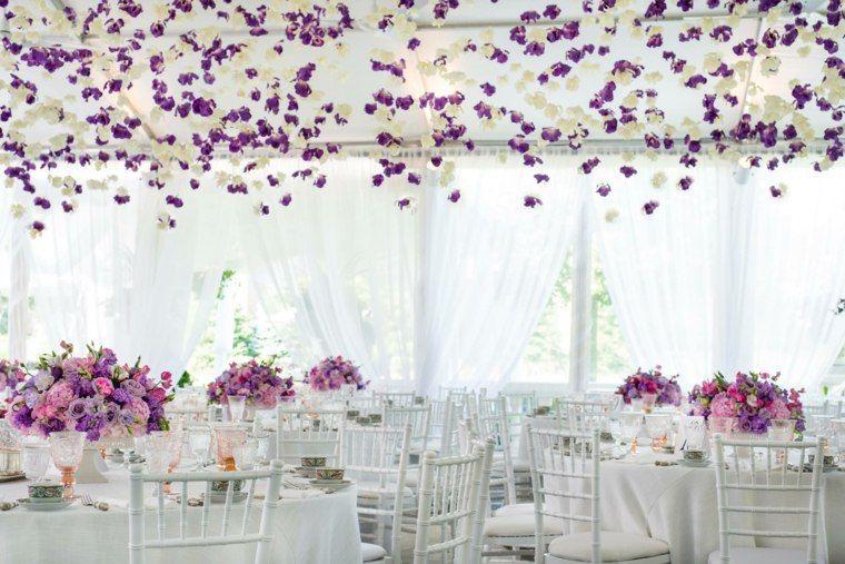 déco de mariage avec centre de table en lilas et rose et décoration ...