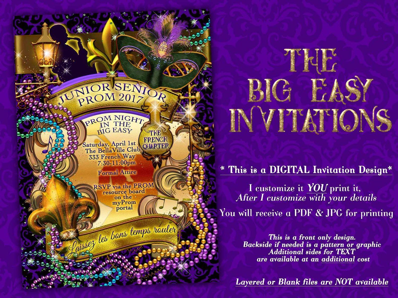 The Big Easy, New Orleans Party, Mardi Gras Invitation, Masquerade ...