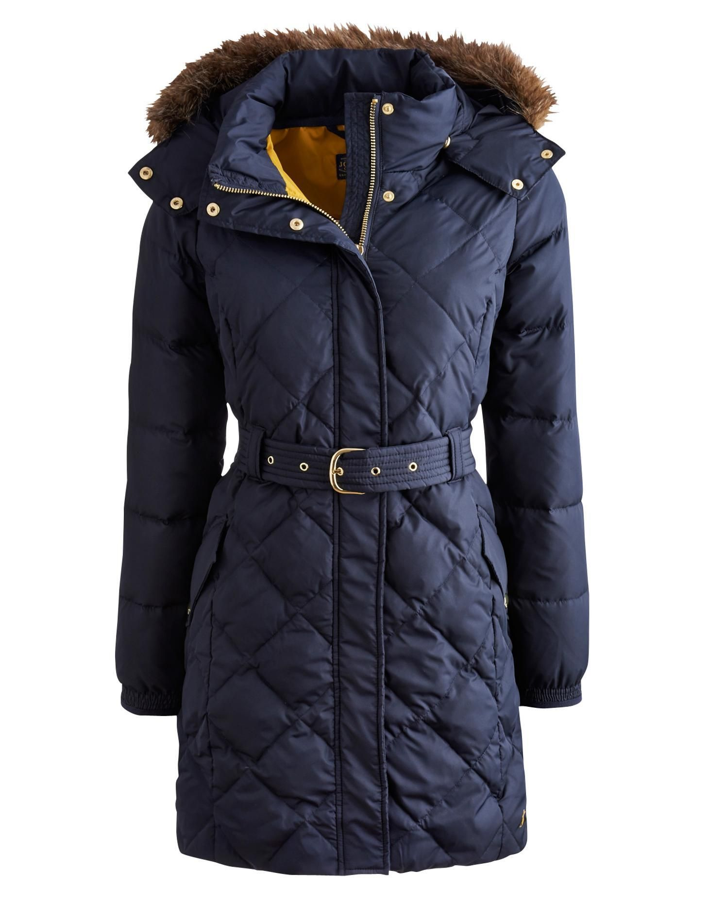 5856c329b Marine Navy Montbel Womens Belted Quilted Coat with Faux Fur Trim ...