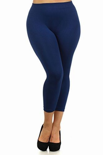 996b20058eadcc ICONOFLASH Women's Plus Size Basic Solid Color Nylon Capri Leggings (Navy  Blue, One Size
