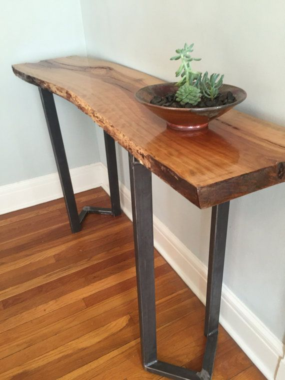 Sofa Table Entryway Table Console Live Edge By Stocktonheritage Live Edge Console Table Wood Table Diy Live Edge Table