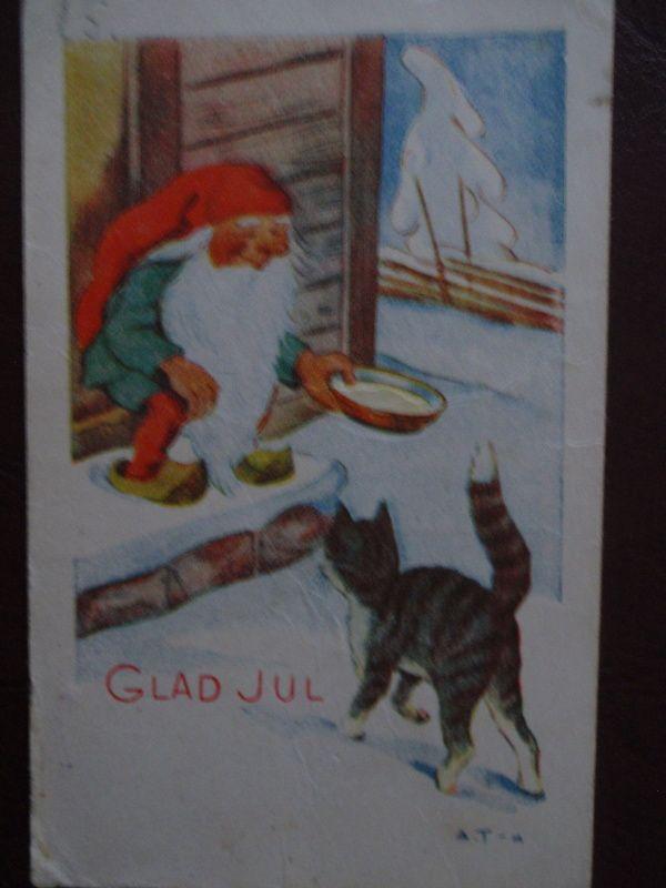 Arnold Tilgmann kissa saa tontulta ruokaa ruots. - Huuto.net