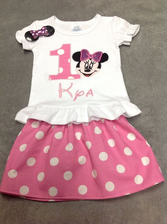 07652a7186dcc Minnie Mouse Birthday Outfit with Matching Hair clip/ Disney ...