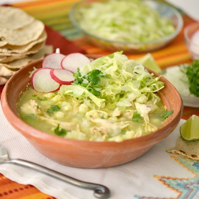 and delicious, this pozole is full of chicken and hominy and flavored with cilantro and chiles for an extra kick.