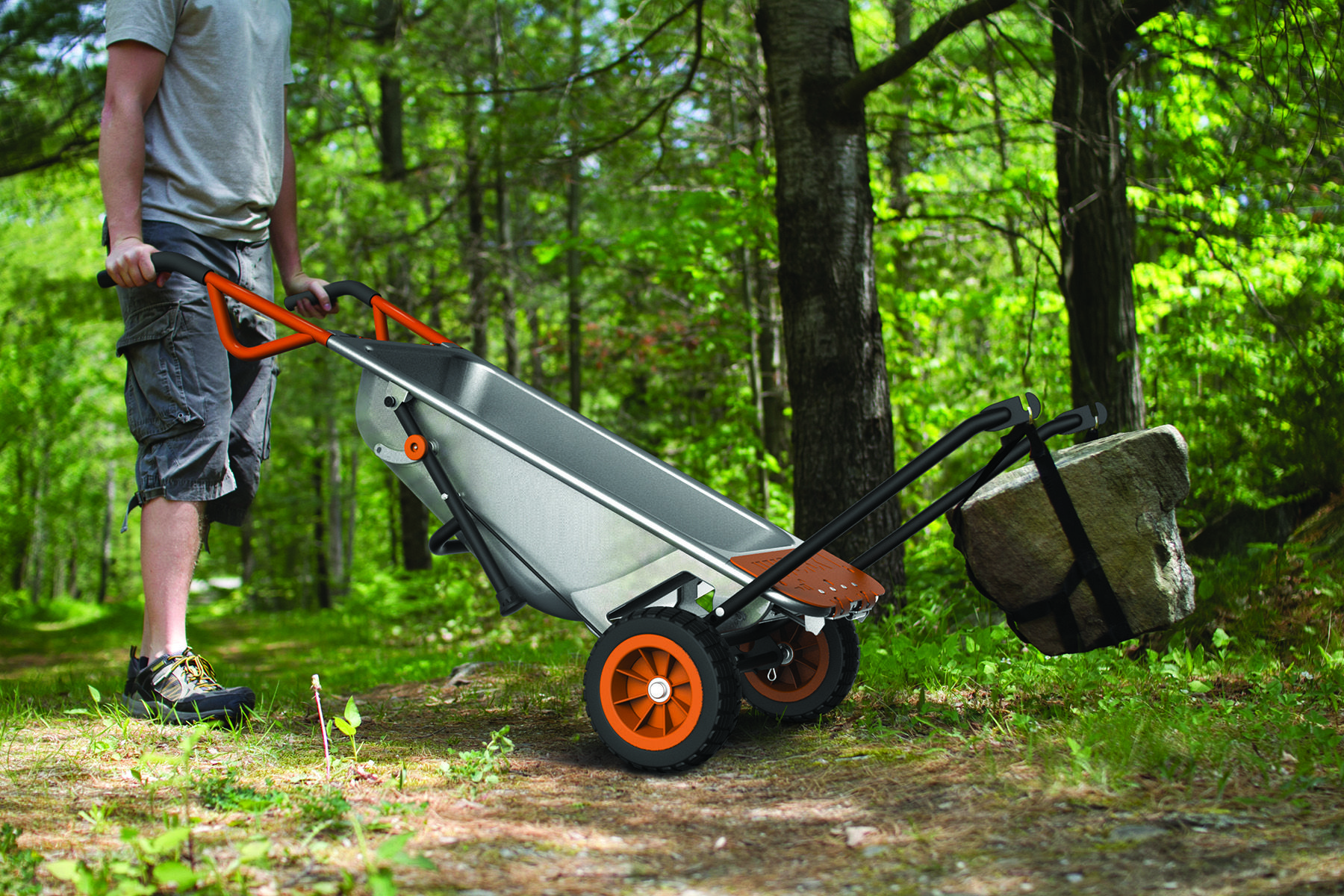 Lift A Heavy Rock By Yourself The Worx Aerocart Makes 200 Lbs Feel Like 17 Lbs Wheelbarrow Yard Cart Cool Things To Buy