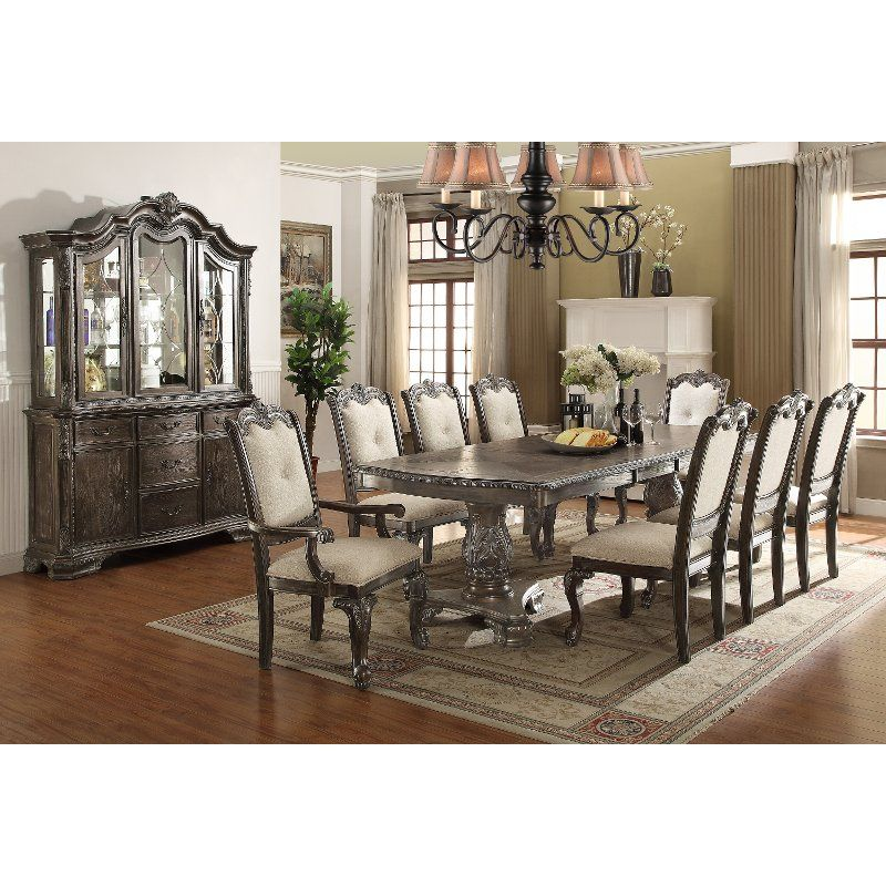 Washed Gray Old World 7 Piece Dining Set Kiera Rc Willey Furniture Store Formal Dining Room Sets Dining Room Table Set Formal Dining Tables #rc #willey #living #room #furniture