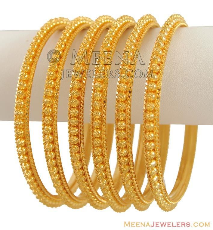22K Yellow Gold Bangles (6 Pcs) ( Set of Bangles ) | Water ...