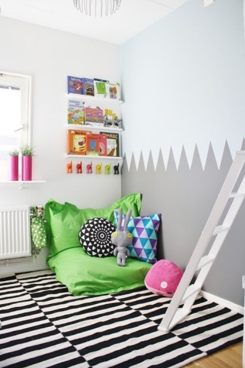 teppich streifenmuster ideen f r leseecke im kinderzimmer. Black Bedroom Furniture Sets. Home Design Ideas