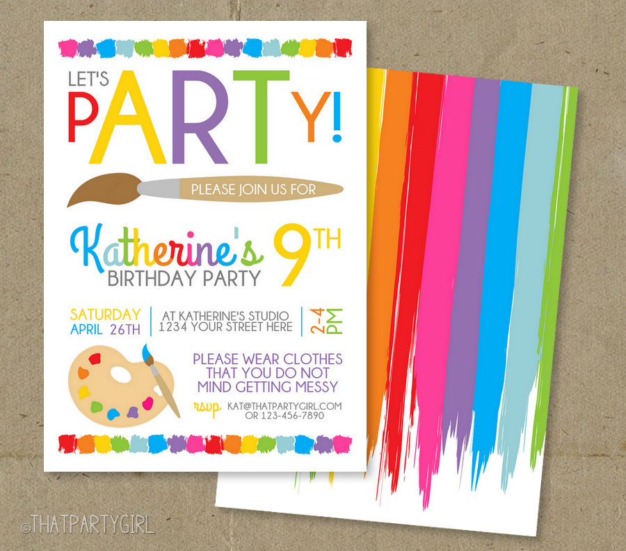 Art Painting Party Birthday Invitations | Party Stuff | Pinterest