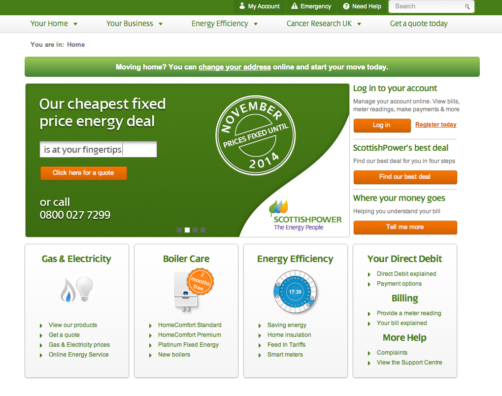 scottish power Energy suppliers, Energy, Change your address