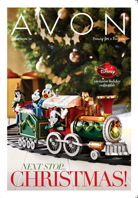 Avon Campaign 24 brochure featuring Avon's Disney Holiday Train Set! #disney #mickeymouse #christmastree #holiday