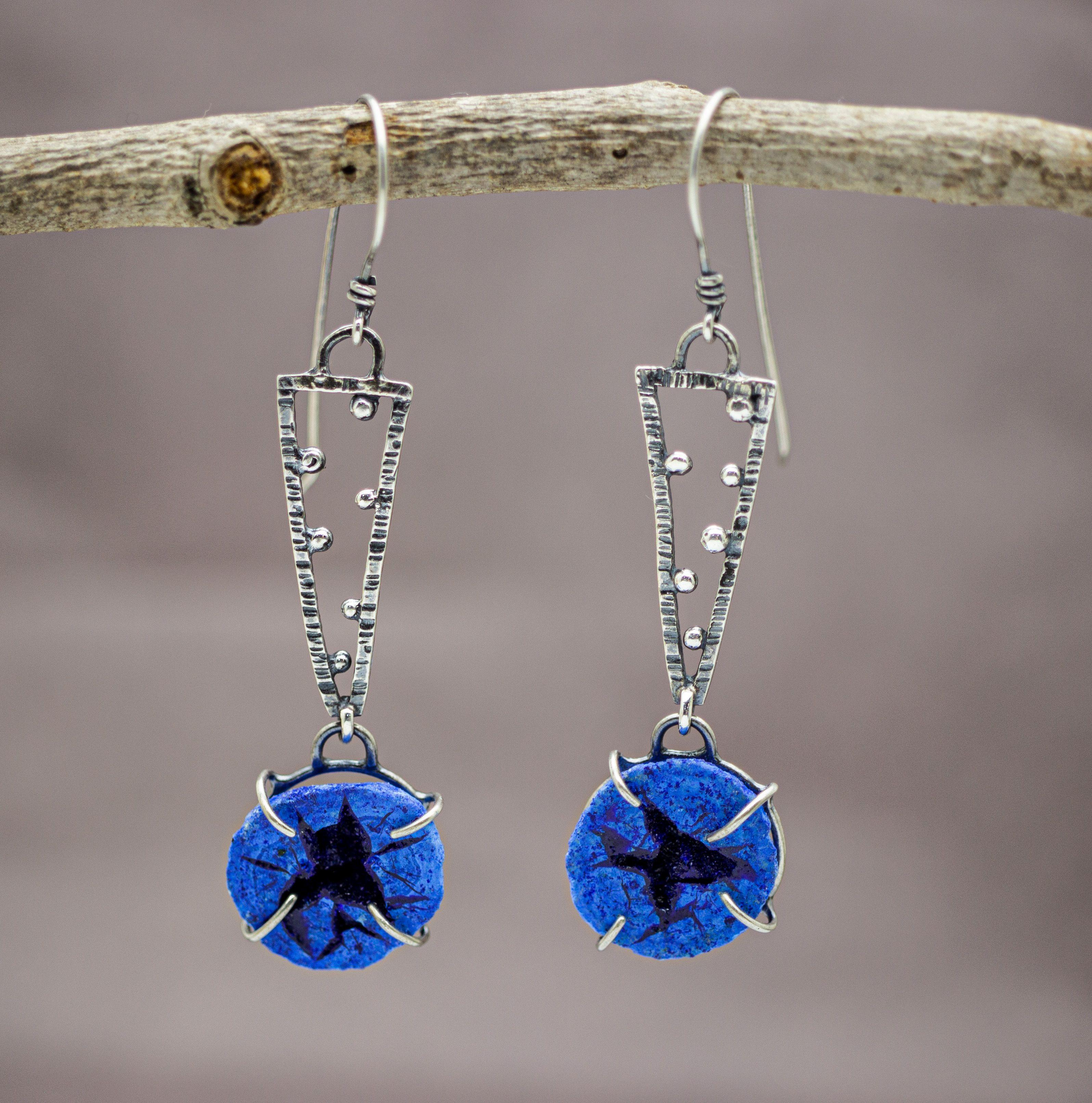 Azurite Geode Earrings Silver Earrings Dangle Long Dangle Earrings Dangle Earrings
