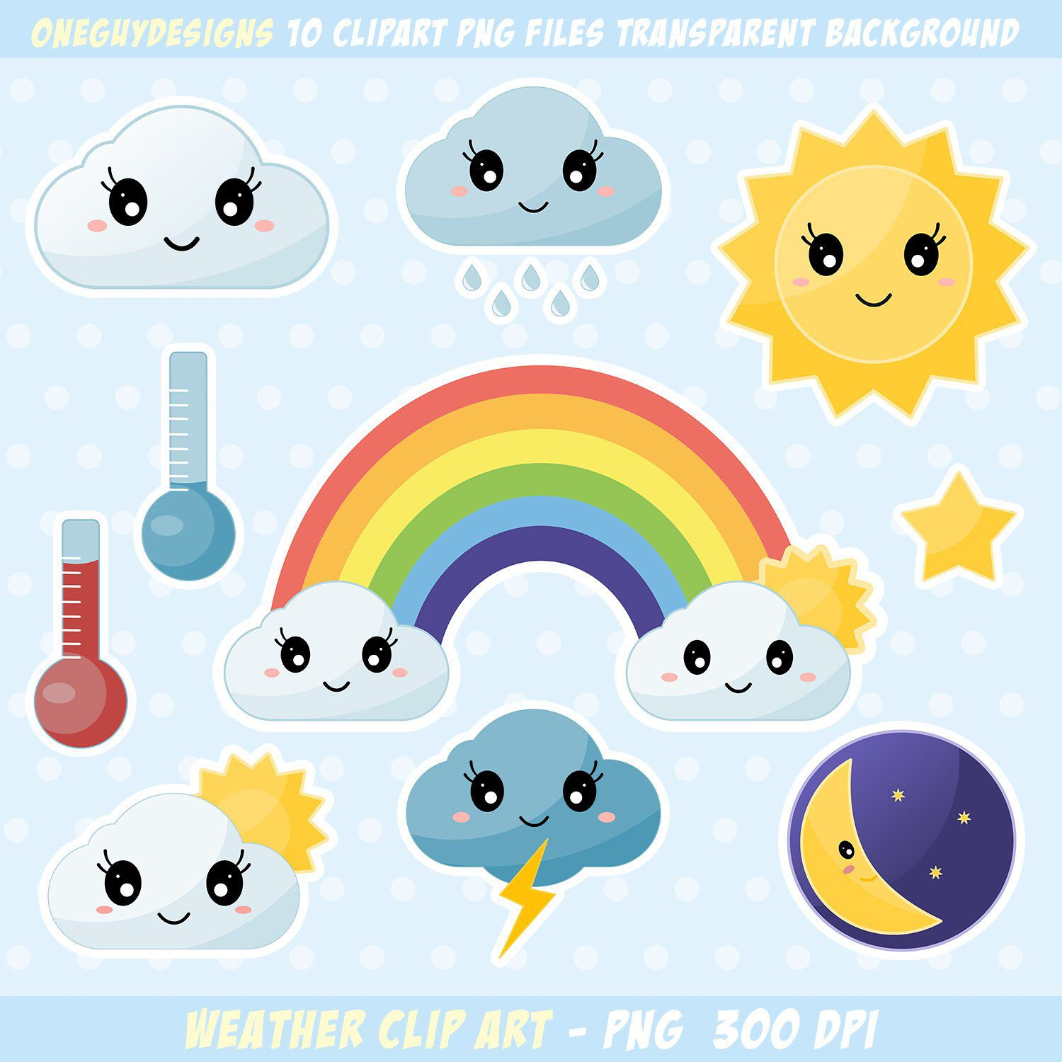 Cute Weather Clipart Rainbow Clouds Sun Star Lightning Etsy Weather Clipart Clip Art Star Clipart
