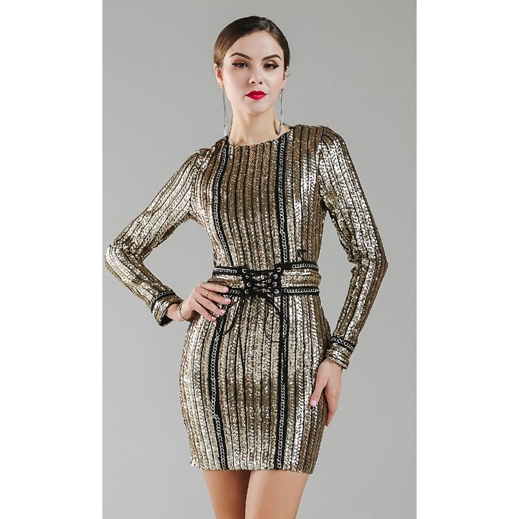 Gold chain sequin dress vestidos chik pinterest products