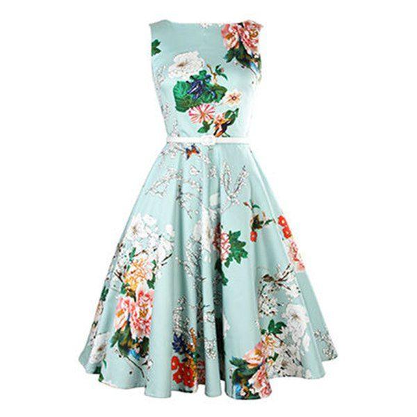 Vintage Jewel Neck Sleeveless Floral Print Belted A-Line Tea Dress ...