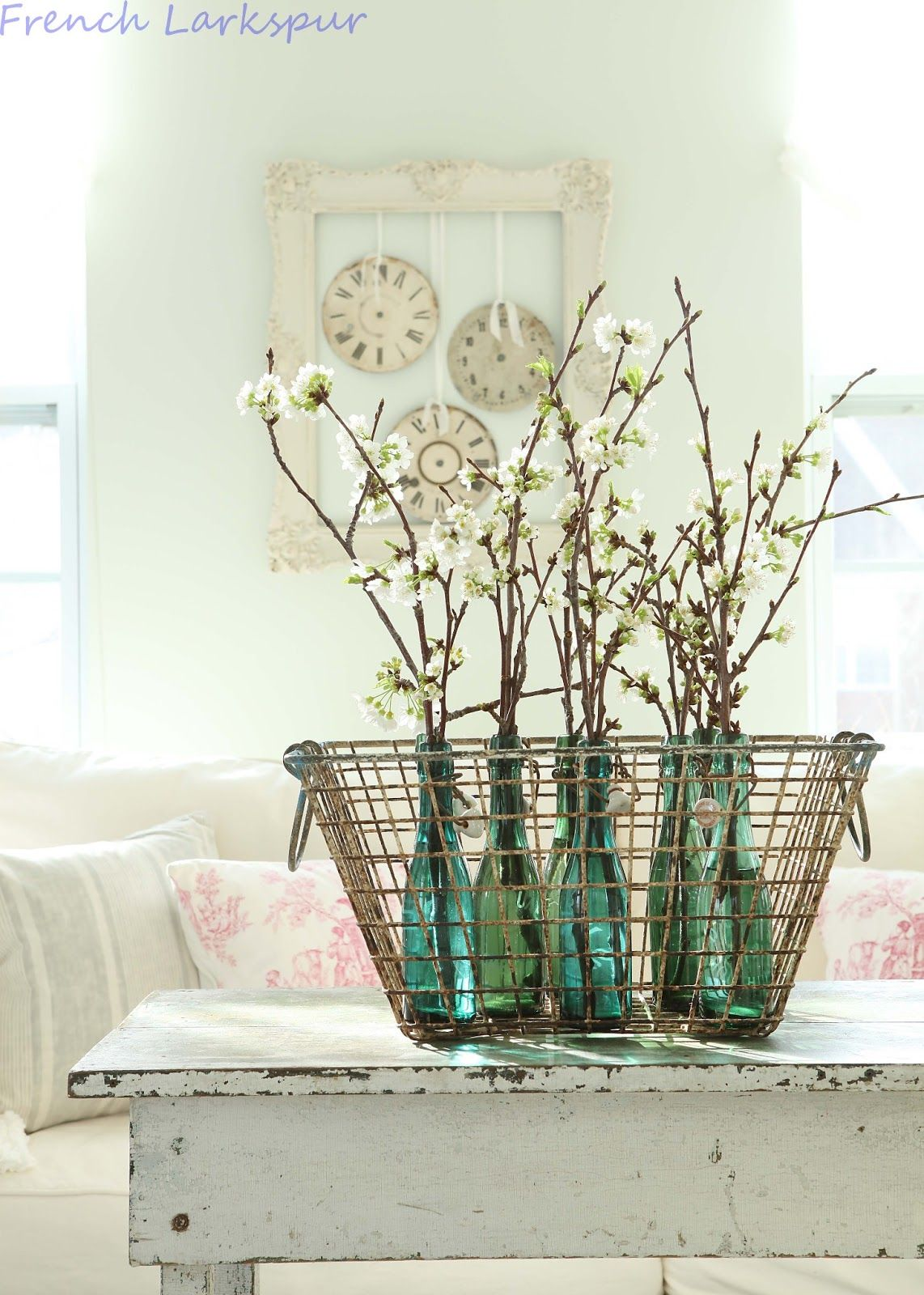 basket with flowering branches*