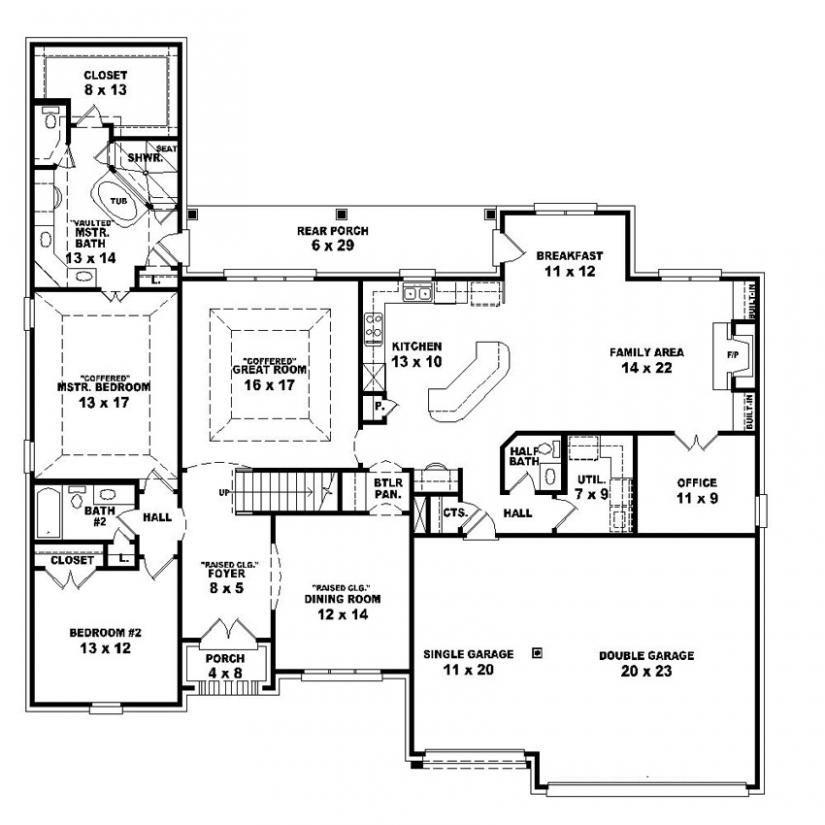 654251 - 4 Bedroom 3.5 Bath House Plan : House Plans, Floor Plans ...