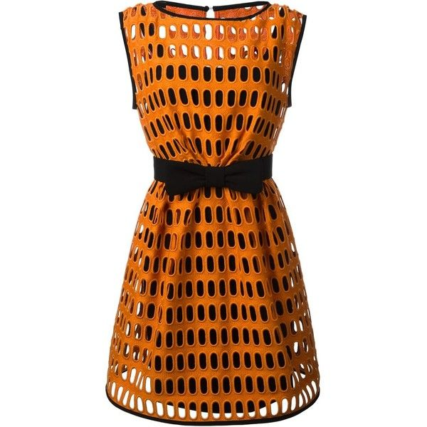Moschino macrame open lace dress ($2,325) ❤ liked on Polyvore featuring dresses, orange dress, circle skirt, lace skater skirt, lace cocktail dress and orange skater skirt