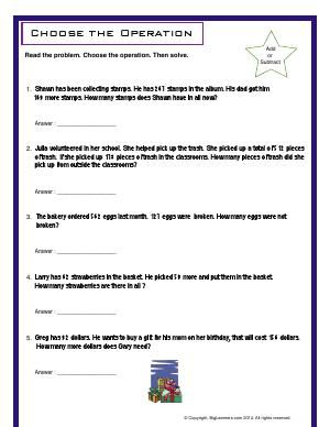 Worksheet Choose The Operation Choose Addition Or Subtraction To Solve Each Word Problem Word Problems 3rd Grade Math Subtraction