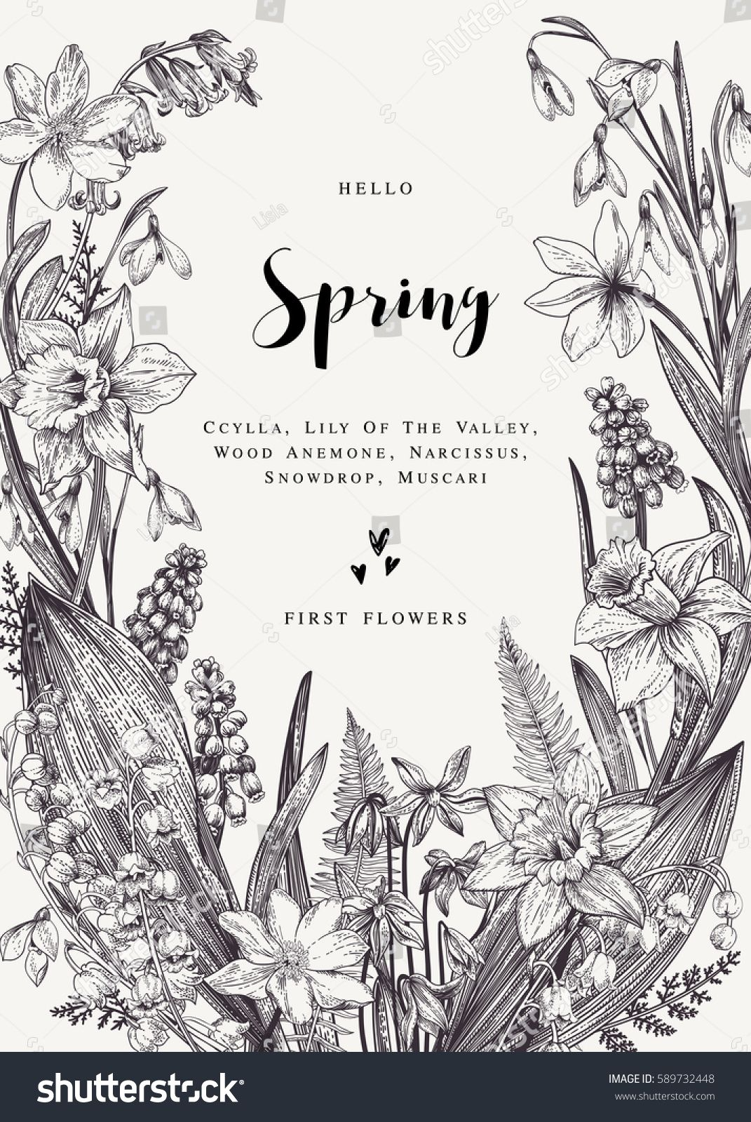 Floral wreath with spring flowers vector vintage botanical floral wreath with spring flowers vector vintage botanical illustration black and white mightylinksfo