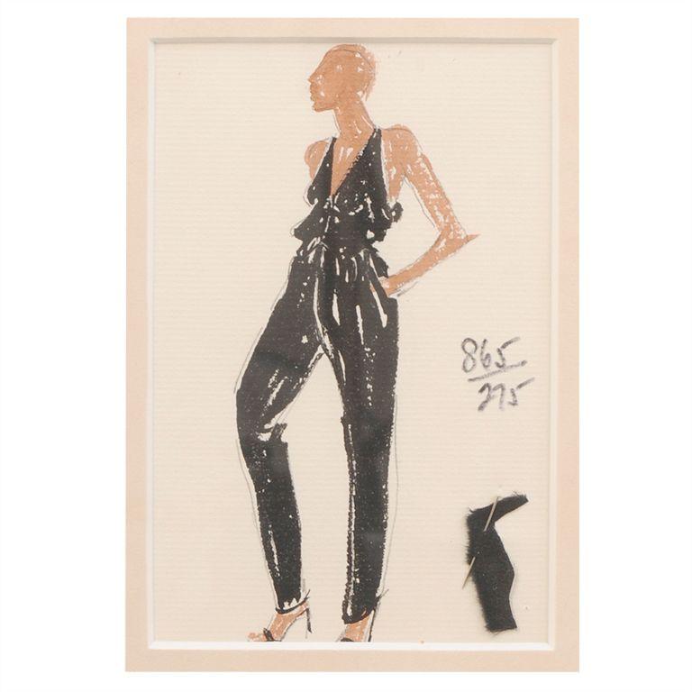 1stdibs.com | Halston Fashion Illustration by Joe Eula, Martha Graham estate